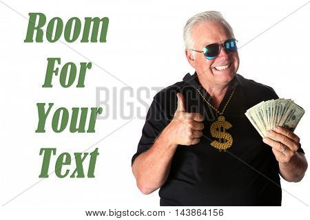 Man with money in hand giving the Thumbs Up sign. Isolated on white with room for your text.