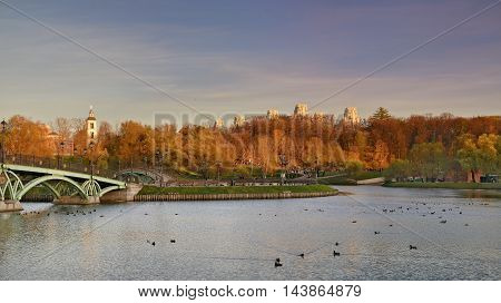 "Moscow, Russia - October 13, 2013: the Park ""Tsaritsyno"" State historical-architectural, art and landscape Museum-reserve, which is located in the South of Moscow and includes the Palace complex, a greenhouse, a historic landscape Park with ponds and foun"