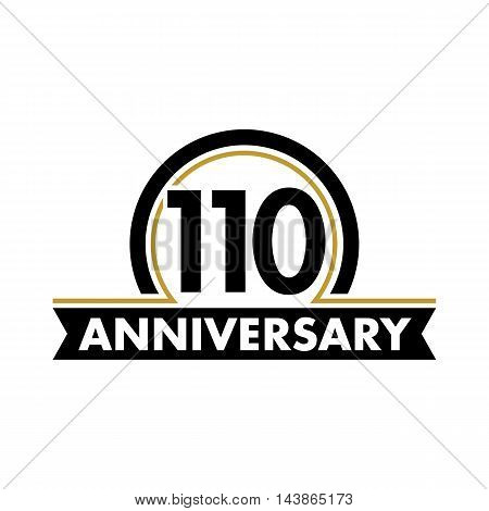 Anniversary vector unusual label. One hundred tenth anniversary symbol. 110 years birthday abstract logo. The arc in a circle. 110th jubilee