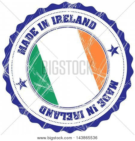 Made in Ireland grunge rubber stamp with flag