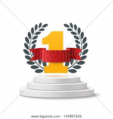 Number one background with blank, red ribbon and olive branch on round pedestal isolated on white. Poster or brochure template. Vector illustration.