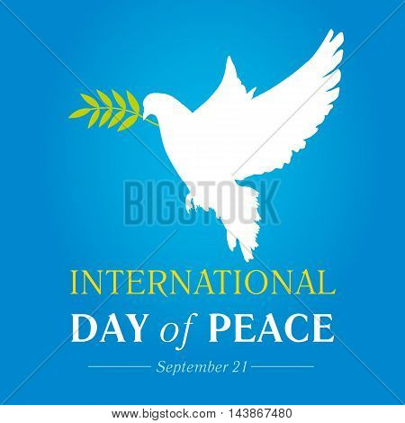 Peace dove with olive branch for International Peace Day banner. International Day of Peace vector illustration