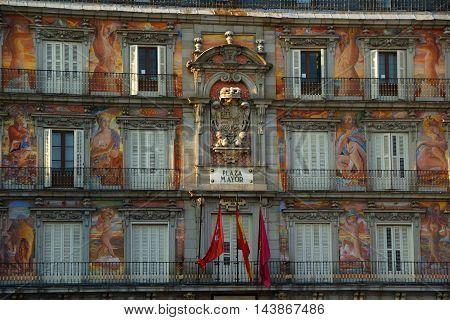 Detail of the facade of the Casa de la Panaderia in Madrid