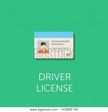 Car driver license identification with photo. Driver license vehicle identity. Corporate badge ID. Flat icon.