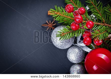 Christmas and new year decoration on black wooden background
