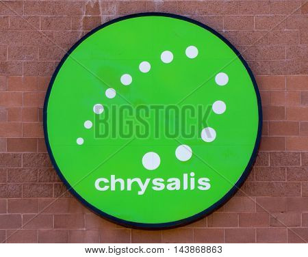 CEDAR CITY UT/USA - AUGUST 13 2016: Chrysalis exterior sign and logo. Chrysalis provides service to disabled individuals in the United States.
