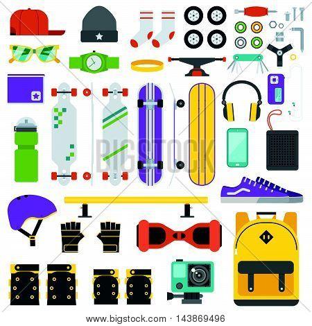 Skateboarder Equipment And Gear Set