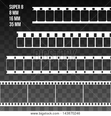 Vector Film Strip Set Illustration on black transparent background. Abstract Film Strip Super 8 16 35mm design template. Film Strip Seamless Pattern.
