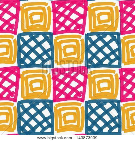 Painted Pink Blue And Yellow Squares