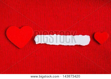 Piece Paper Blank Copyspace Hearts On Red Fabric Textile Material