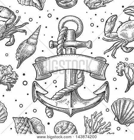Seamless pattern sea shell, coral, crab, shrimp and anchor with ribbon Vector engraving vintage illustrations. Isolated on white background.