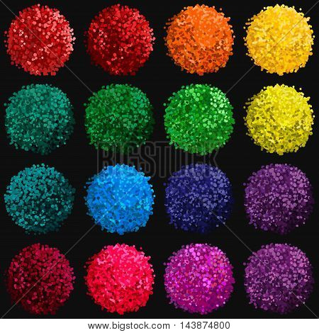 Vector colorful set with illustration of pompom isolated on black background for you design