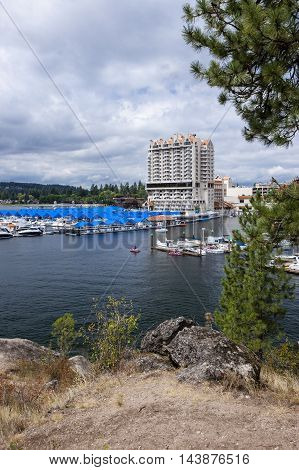 A marina and part of downtown Coeur d'Alene taken from locally famous Tubbs Hill.