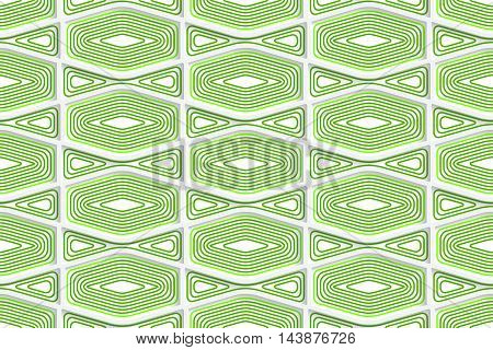 Colored 3D Green Striped Squished Hexagons