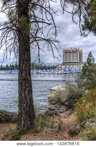 A view of a marina and part of downtown Coeur d'Alene taken from locally famous Tubbs Hill.