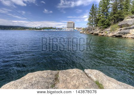 The view of Coeur d'Alene lake and the resort from Tubbs Hill.