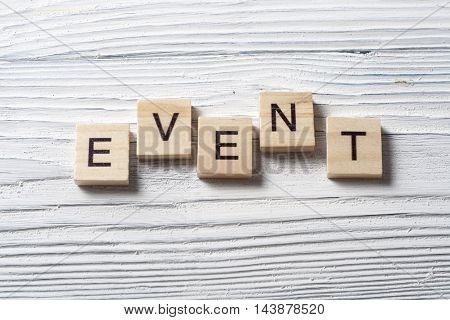 EVENTS word written on wood abc block wooden background