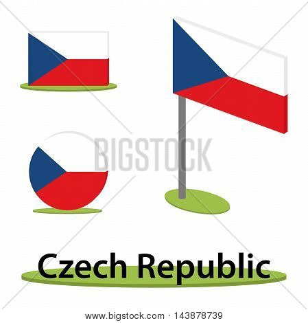 isometric flag set czech republic in perspective