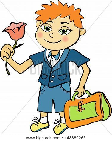 Pupil Of The First Class Of Red-haired Boy. Vector Illustration
