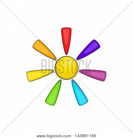Sun in colours of LGBT icon in cartoon style isolated on white background. Tolerance symbol