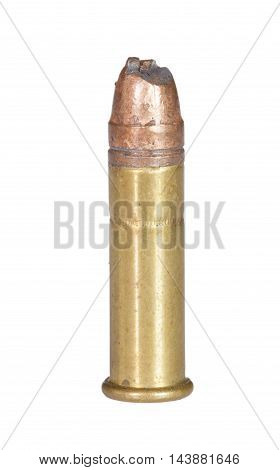 Hunk out of a bullet on a rimfire cartridge isolated on white