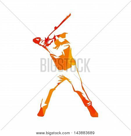 Abstract orange baseball player vector isolated illustration. Baseball batter