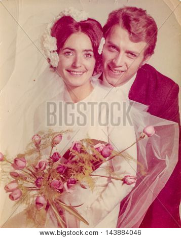 Vintage photo of newlyweds, 1970's
