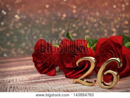 birthday concept with red roses on wooden desk. 3D render - twenty-sixth birthday. 26th