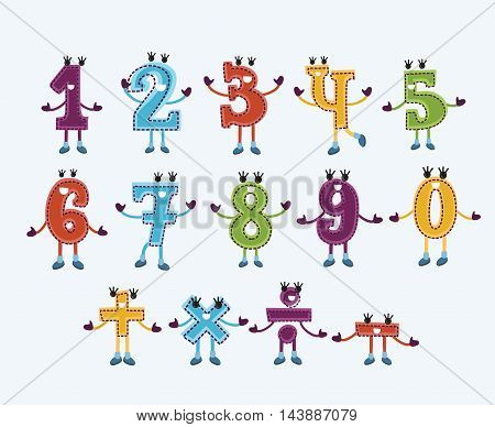 Vector colorful childish set of number characters and signs with smiling faces and hand and legs for kids