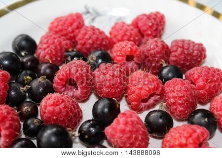 The berries are red raspberries and black currant