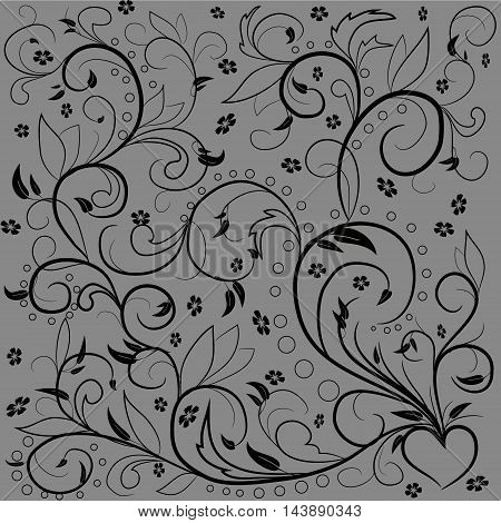 Black leaves with abstract swirls leaves flowers and hearе on a gray background. Can be used as a background decor decoupage textile invitation. Happy design Patern.