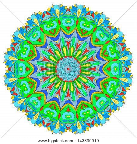Ornamental round organic pattern circle colorful mandala with many details on white background. Оrnament can be used for wallpaper pattern fills backgroundsurface textures round ornamental natural doily pattern mandala. Happy design element.
