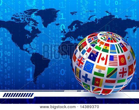 Flags Globe with World Map Binary Code Background Original Vector Illustration EPS10 poster