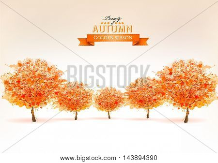 Beautiful autumn nature background with trees. Vector.