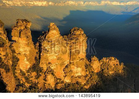 The Three Sisters Blue Mountains Australia taken at sunset