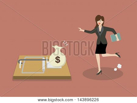 Business woman try to pick money from mousetrap. Business concept
