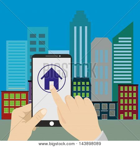Vector flat concept - hand holding mobile phone with gps app on the screen - searching for a house