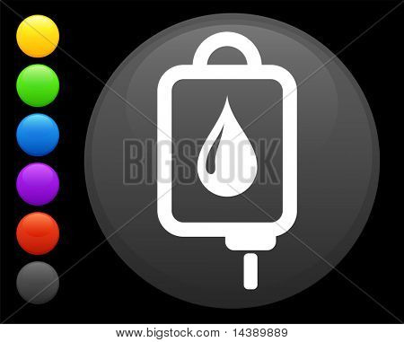 Intravenous therapy icon on round internet button original vector illustration 6 color versions included
