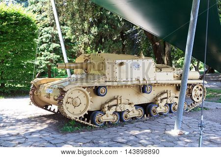 Bergamo, Italy - June 21, 2016: Italian Tank M42 in a park. The Carro Armato M15/42 was the last Italian medium tank produced during World War II.