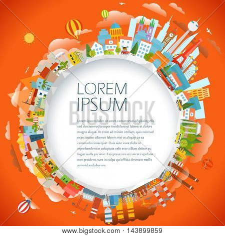Travel concept vector illustration. Around the world. Copy-space for any text