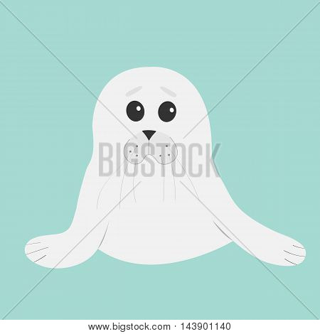White seal pup baby harp. Cute cartoon character. Blue background. Flat design Vector illustration