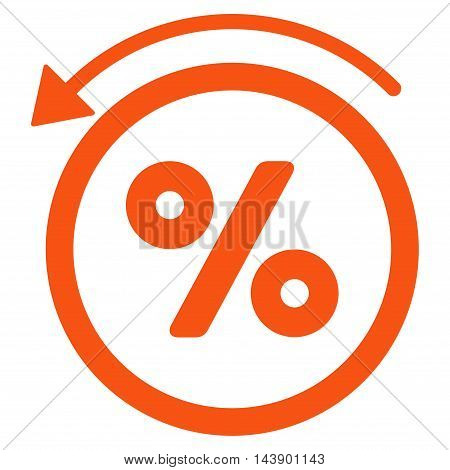 Rebate Percent icon. Vector style is flat iconic symbol with rounded angles, orange color, white background.
