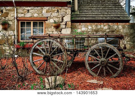 Old cart in the town of Hahndorf Adelaide Hills South Australia