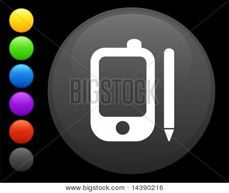 palm pilot icon on round internet button original vector illustration 6 color versions included