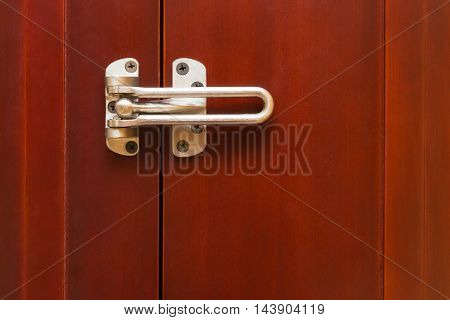 locked stainless steel safety latch at home