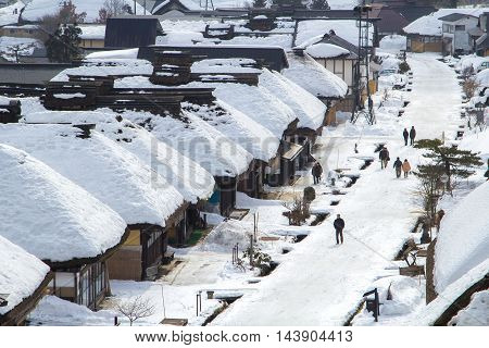 FUKUSHIMA,JAPAN - FEBRUARY 28, 2014: Ouchijuku is a former post town along the Aizu-Nishi Kaido trade route, which connected Aizu with Nikko during the Edo Period.