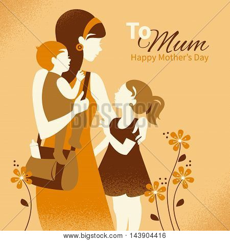 Beautiful mother silhouette with her children. Cards of Happy Mother's Day