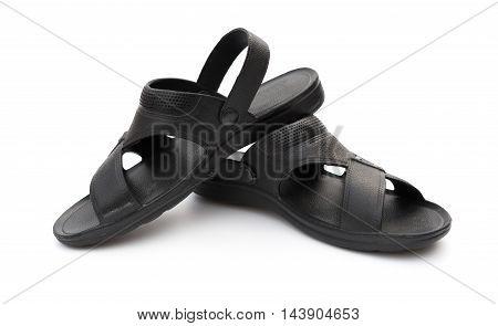 pair of black leisure sandal on white background