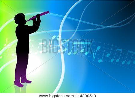 Live Flute Musician on Light Abstract Background Original Vector Illustration
