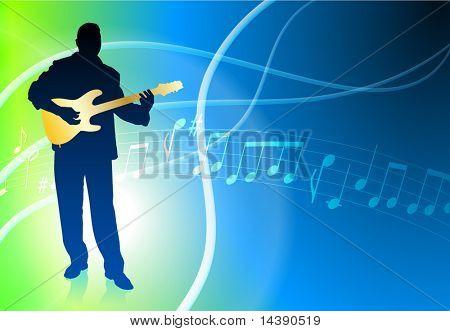 Live Guitar Musician on Abstract Light Background Original Vector Illustration